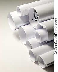 Sheets of the white paper rolled up roll