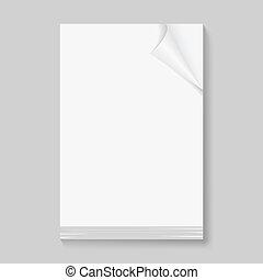 sheets., papel, pilha, em branco