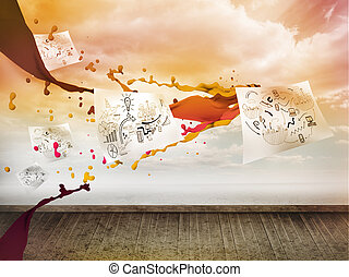 Sheets with graphics over sky on wall