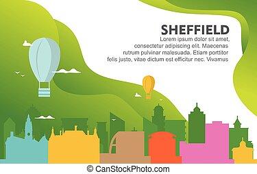 Sheffield City Building Cityscape Skyline Dynamic Background Illustration
