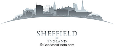 Sheffield England city skyline silhouette white background -...