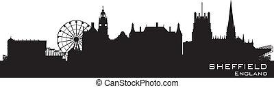Sheffield, England skyline. Detailed vector silhouette