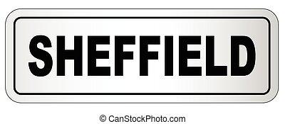 sheffield, letrero nombre, ciudad