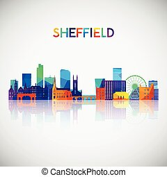 Sheffield skyline silhouette in colorful geometric style.
