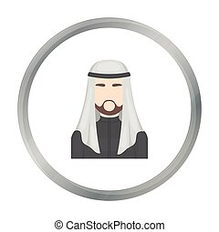 Sheikh icon in cartoon style isolated on white background. Arab Emirates symbol stock vector illustration.