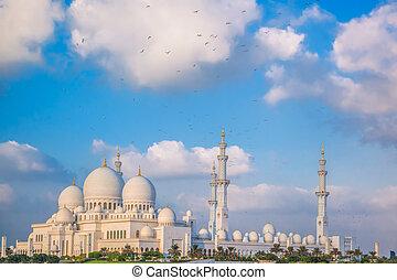 Sheikh Zayed Grand Mosque with birds, Abu-Dhabi, United Arab Emirates