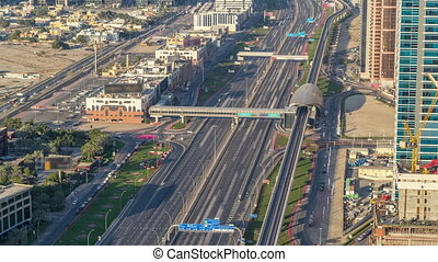 Sheikh Zayed Road at intersection of Hessa Street aerial...