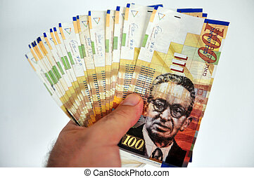 shekel, honderd, rekeningen, een