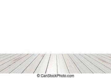 (shelf), albo, drewniany szczyt, kantor, odizolowany, wystawa, tło., products., stół, biały, twój, opróżniać, prospekt