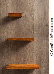 shelf at wooden background wall - shelf at wooden background...