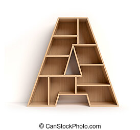 Shelf font 3d rendering letter A isolated illustration
