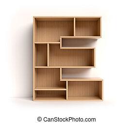 Shelf font 3d rendering letter E