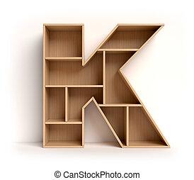 Shelf font 3d rendering letter K isolated illustration
