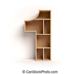 Shelf font 3d rendering number 1 isolated illustration
