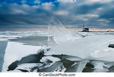 shelf ice and lighthouse