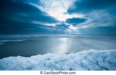 shelf ice and sunset in Marken