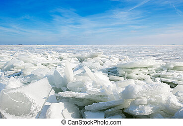 shelf ice in Marken a small village near Amsterdam The...