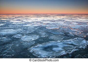 shelf ice on Wadden sea coast in winter, Netherlands