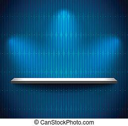Shelf in a blue room