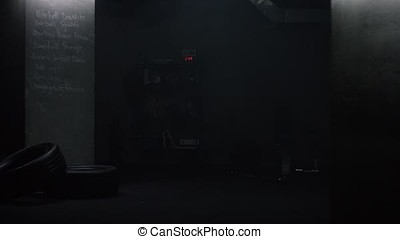 shelf of awards in the gym dark background