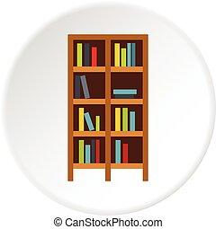 Shelf of books icon circle