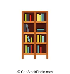 Shelf of books icon, flat style