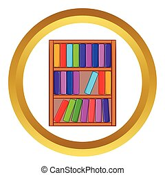 Shelf of books vector icon