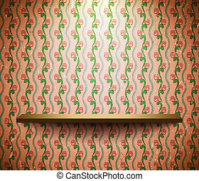 Shelf on the floral wallpaper