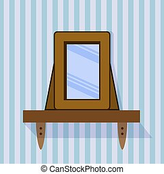 shelf with a mirror on a striped background