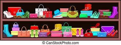 Shelf with bags and shoes. vector illustration