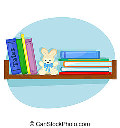 shelf with books for children
