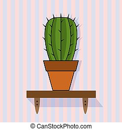 shelf with cactus on a striped background