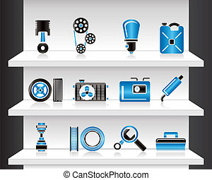 Shelf with Car Parts - Vector Illustration