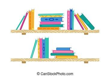 Shelf with cartoon book wooden bookshelves vector