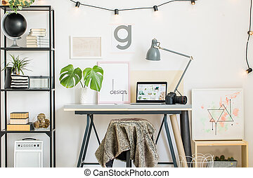 Shelf with creative painting