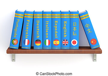 shelf with dictionaries books, 3D rendering