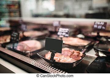 Shelf with fresh meat in food market, nobody - Shelf with ...