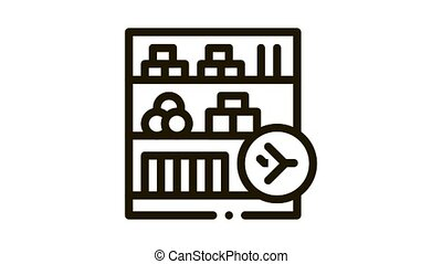 shelf with goods in duty free Icon Animation. black shelf with goods in duty free animated icon on white background