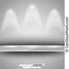 Shelf with LED spotlights