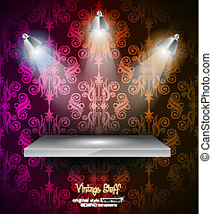 Shelf with LED spotlights with delicate look on a grey gradeientwallpaper. Shadows are transparent.