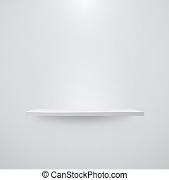Shelf with light and shadow on empty white wall. Vector illustration