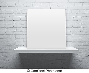 shelf with poster - brick wall and white shelf with poster