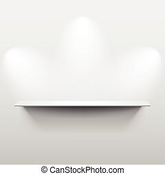 Shelf with shadow in empty white room