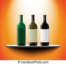 Shelf with three vine bottles