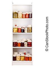 Shelf with various preserves