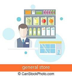 shelfs, alimento., loja, geral