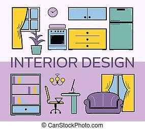 shelfs, appartamento, stile, set, stanza, furniture., vivente, room., lilla, divano, libri, computer, vettore, kitchen., tavola, disegno interno, illustration.