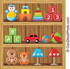 shelfs, con, juguetes