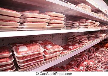 shelfs, in, kaufmannsladen, mit, pastetenfüllung