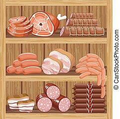 shelfs, products., hús, market.